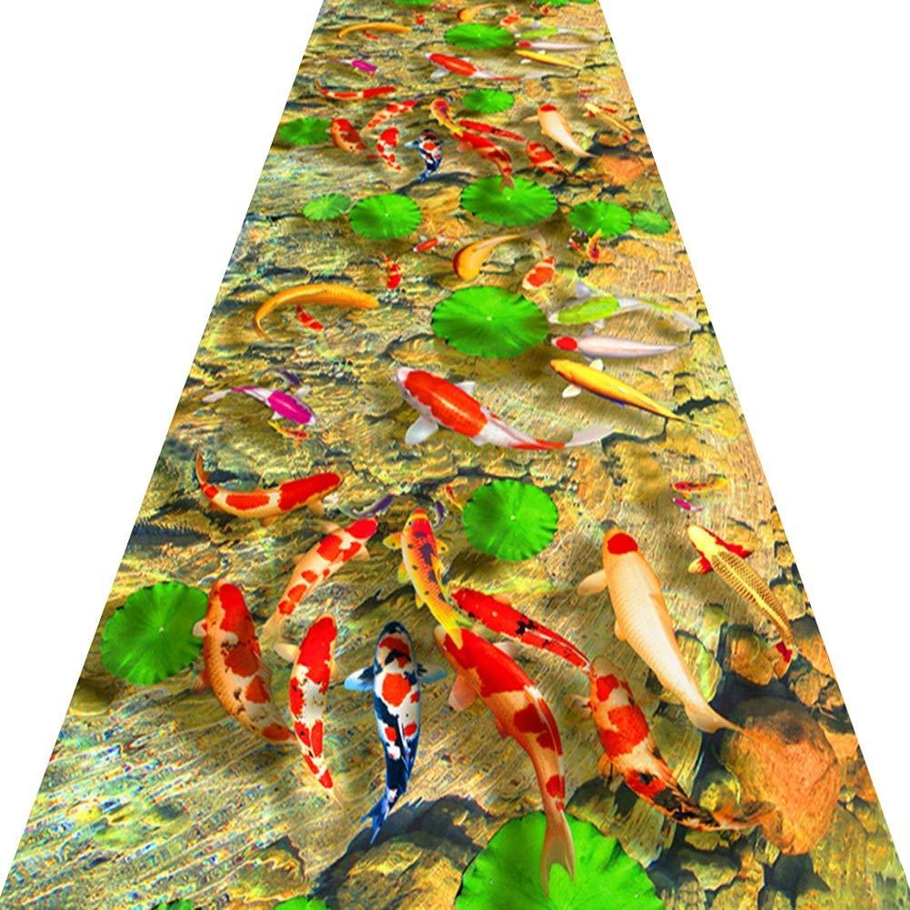 KKCF 廊下のカーペット3Dフィッシュポンド滑り止め切れる消えない廊下カーペット 、複数のサイズ (Color : A, Size : 1x6m) B07SVVCP83 A 1x6m