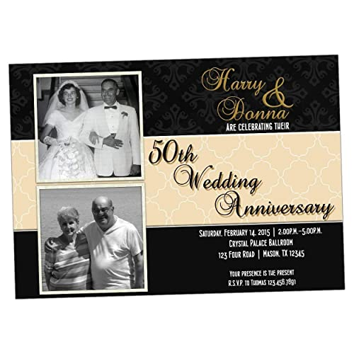 Amazon Com Then Now Black Gold Photo 50th Wedding Anniversary Invitations Party Handmade