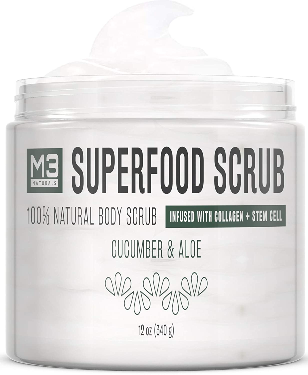 M3 Naturals Superfood Scrub infused with Collagen and Stem Cell All Natural Cucumber Aloe Body and Face Exfoliating Facial Wash Blackheads Acne Scars Pore Minimizer Exfoliator Souffle Skin Care