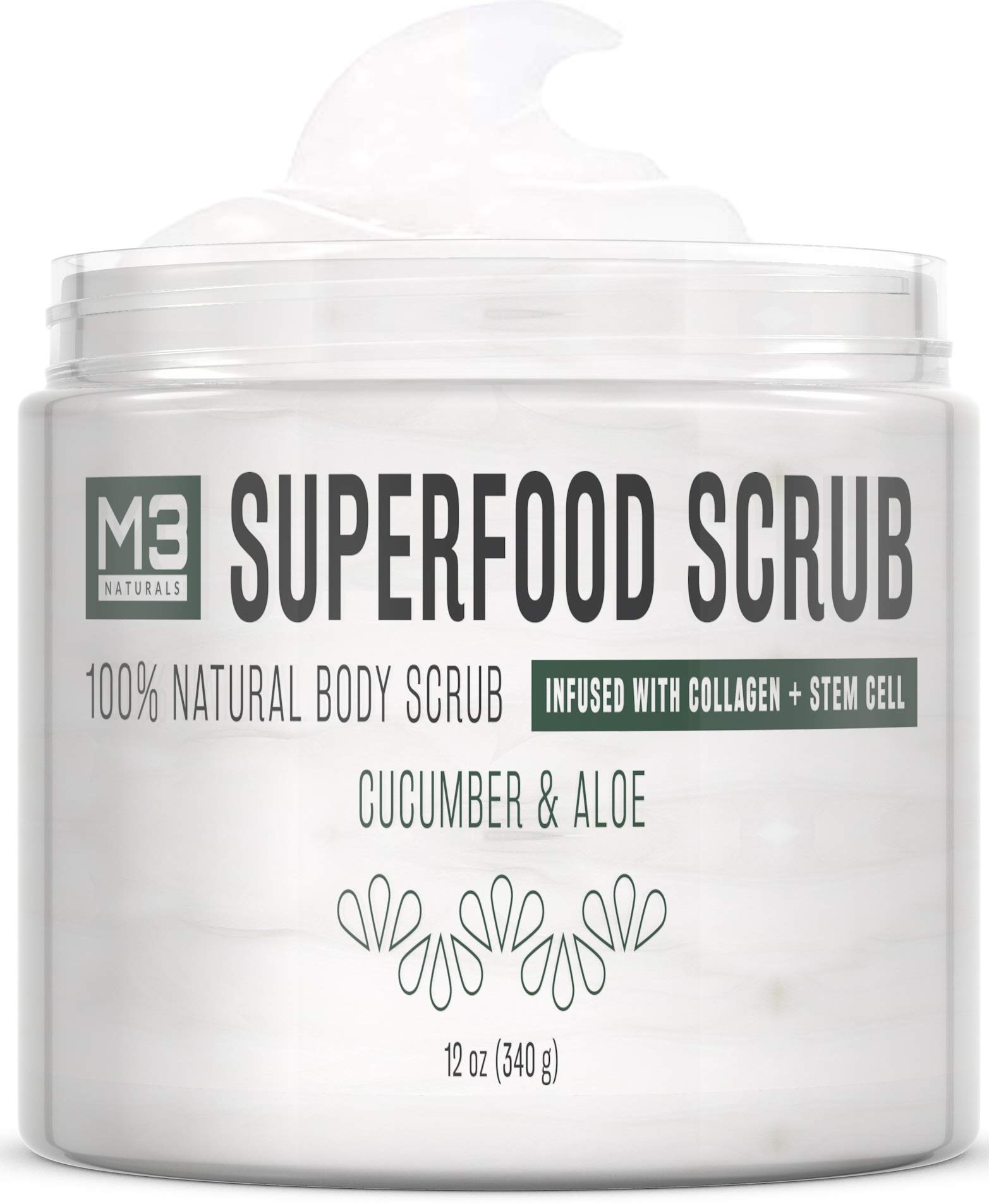 M3 Naturals Superfood Scrub infused with Collagen and Stem Cell by M3 Naturals