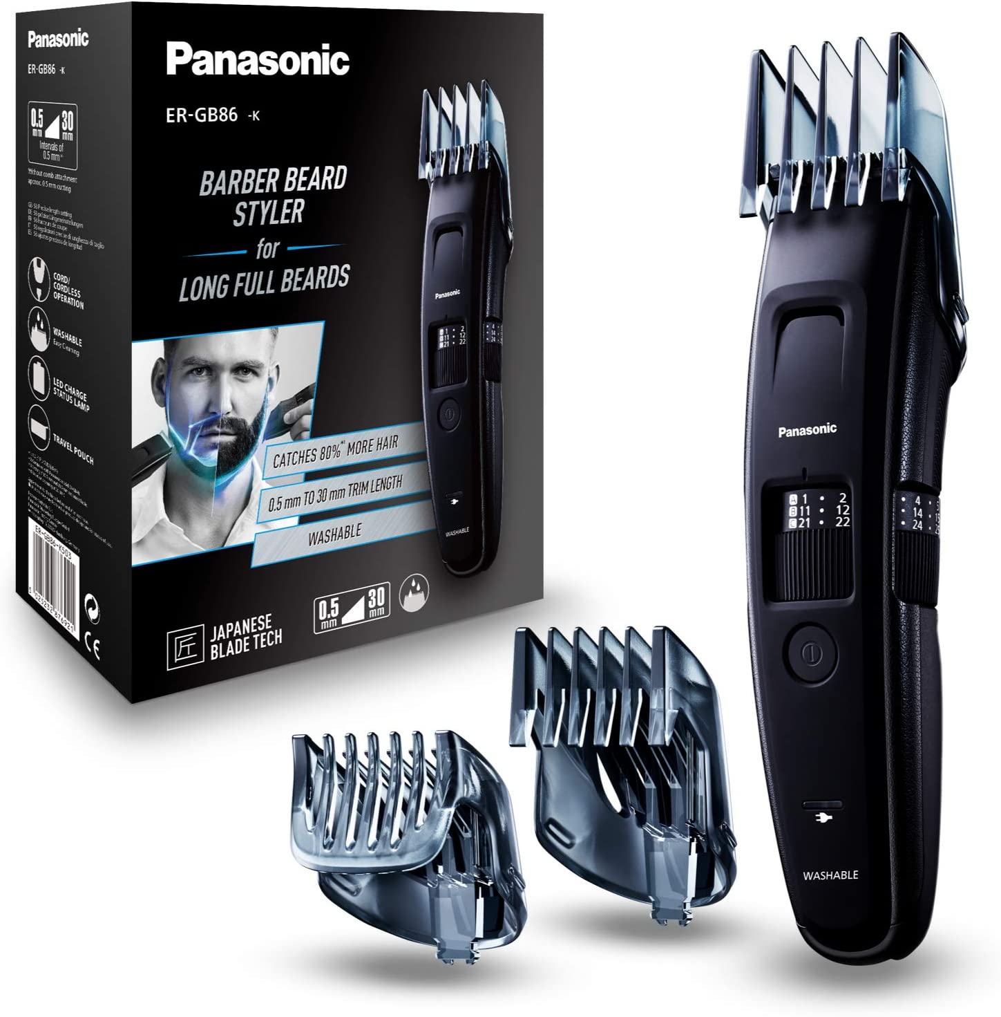 Panasonic ER-GB86-K503 - Recortadora Ideal Barbas Largas con Peine ...
