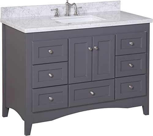 Abbey 48-inch Bathroom Vanity Carrara Charcoal Gray Includes Italian Carrara Marble Top, Shaker Style Cabinet with Soft Close Drawers Self Closing Doors, and Rectangular Ceramic Sink