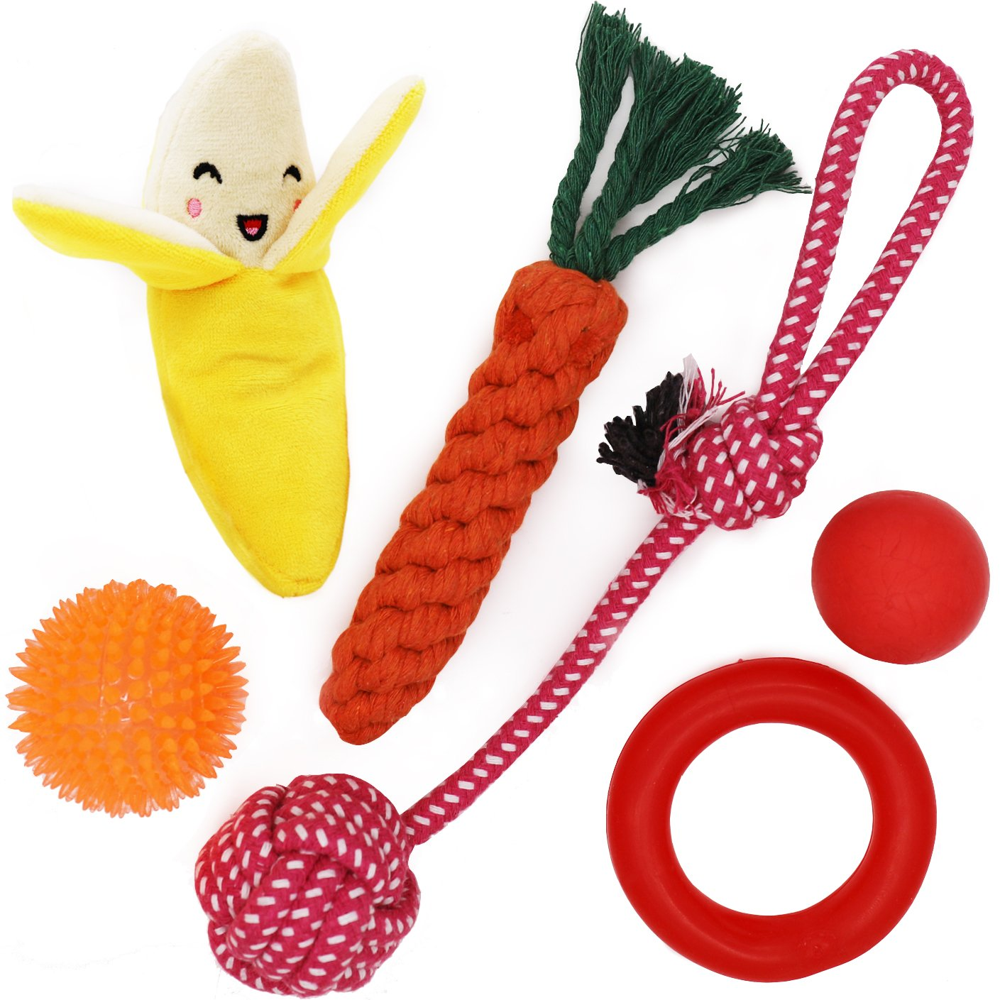 Small Dog Toys Set 6 Pack Ball Rope and Chew Toys for Small Dog Puppy by yotache (Image #1)