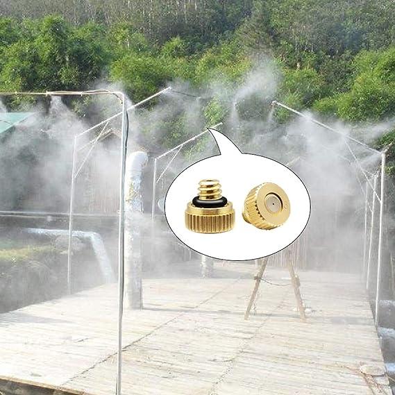 Duokon 10 Piezas boquillas de nebulizaci/ón de lat/ón de 0,2 mm Agua del Grifo Boquilla de pulverizaci/ón atomizadora de Baja presi/ón Boquillas de nebulizaci/ón de refrigeraci/ón