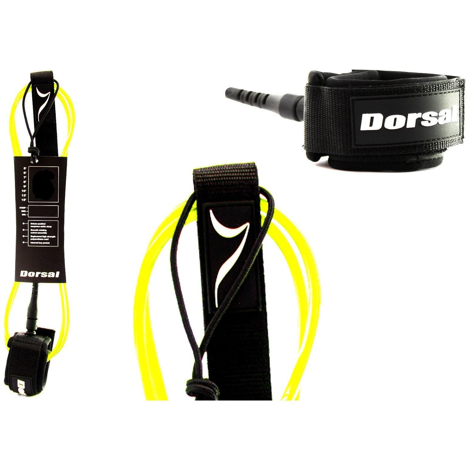 Dorsal Premium Surfboard 6, 7, 8, 9, 10 FT Surf Leash - Yellow 8 FT Longboard/Yellow by Dorsal (Image #1)