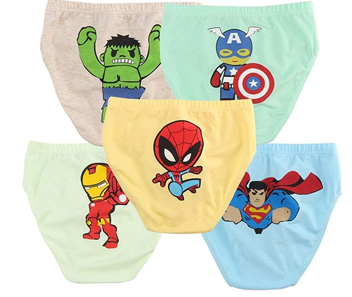 Ku-lee Superhero Little Boys' Briefs Avengers Teenage Underwear (Pack of 5)