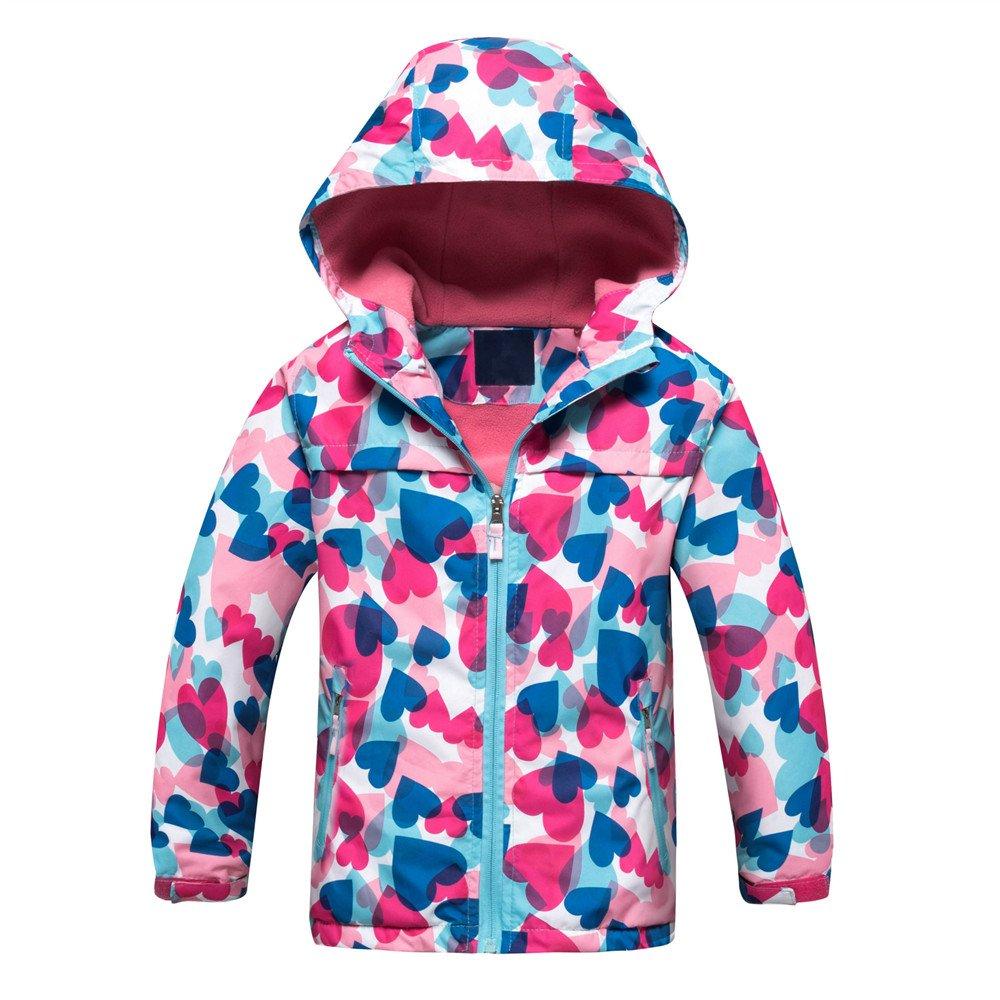 Star Flower Little Girls Rain Jacket Coats with Hood