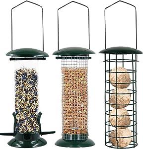 Lulu Home Hanging Bird Feeder, Set of 3 Tube Bird Feeders for Outside Hanging, Wild Bird Seed Feeders for Cardinal Birds