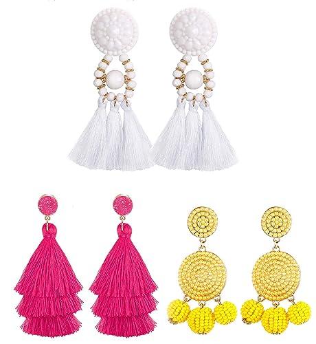 f4a7bfd62694d2 Amazon.com: JOERICA 3 Pairs Bohemian Dangle Tassel Earrings for Women Girls  Hoop Ball Bead Fringe Thread Tassel Earrings Set: Jewelry