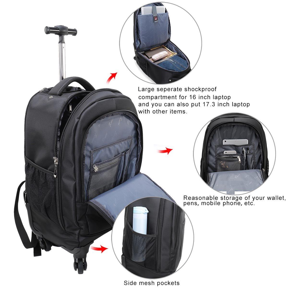Racini Nylon Waterproof Rolling Backpack, Freewheel Travel School Wheeled Backpack, Carry-on Luggage with Anti-theft Zippers (Black) by Racini (Image #3)