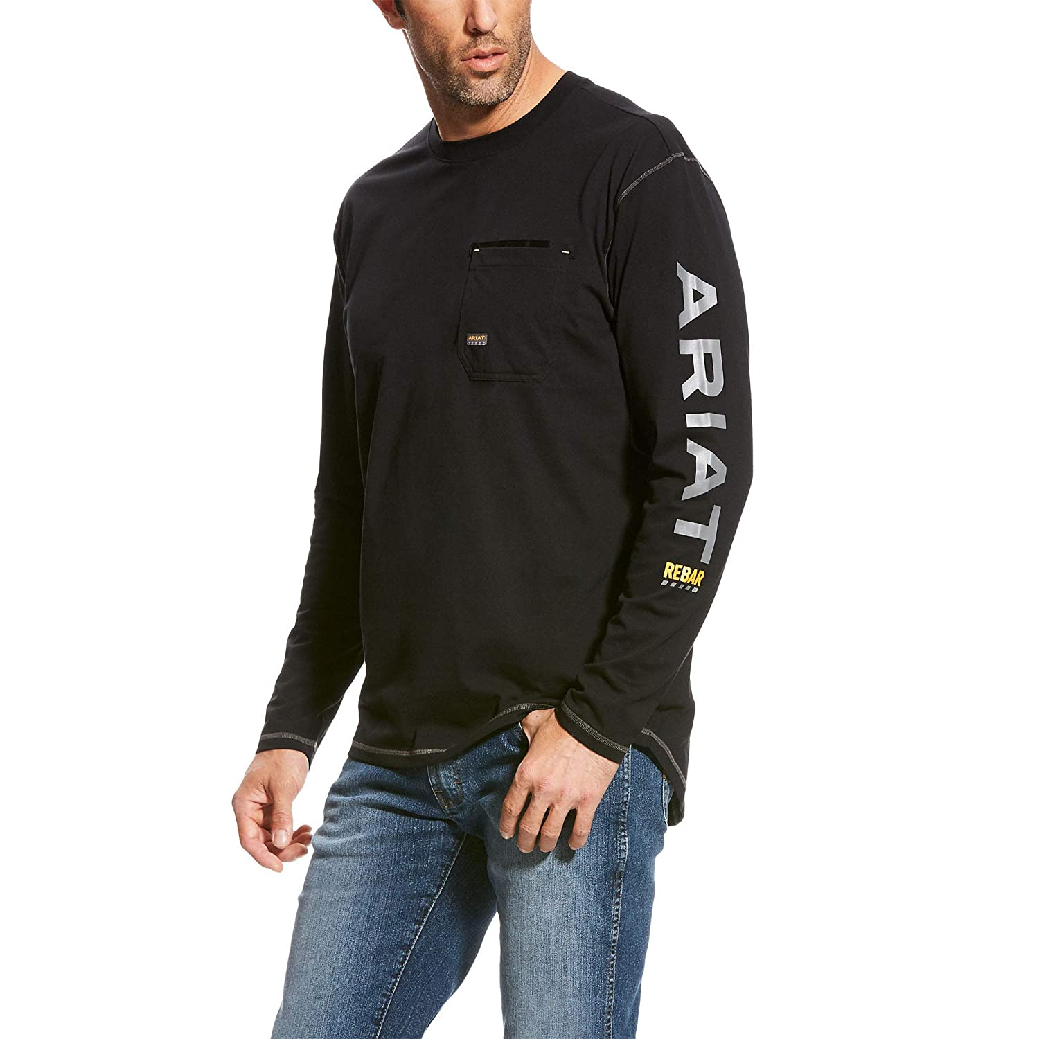 ARIAT Mens Rebar Logo Long Sleeve Crewwork Utility Tee Shirt