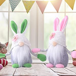 TURNMEON 2 Pcs Easter Gnomes Plush Decorations, Mr and Mrs Gnome Bunny Rabbit Ears Pastel Floral Faceless Doll Scandinavian Tomte Gnome for Easter Spring Decor Ornaments Home Household Table Figurines