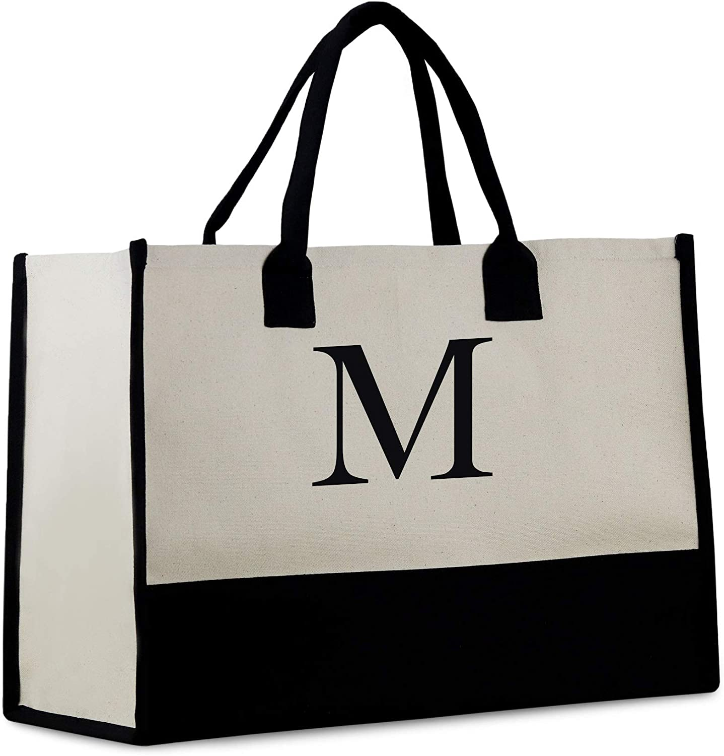 Monogram Tote Bag with 100% Cotton Canvas and a Chic Personalized Monogram Off-white