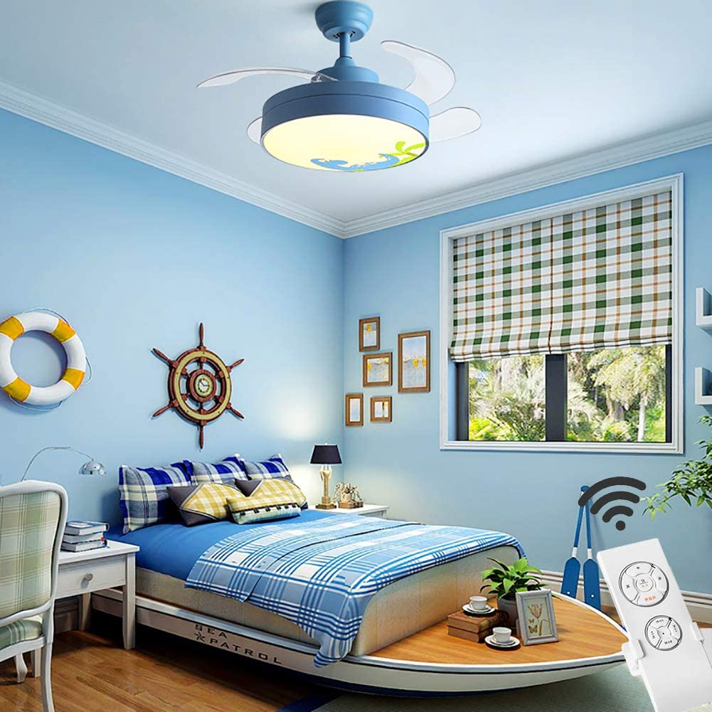 Children Ceiling Light with Fan,Modern Remote Led Light with