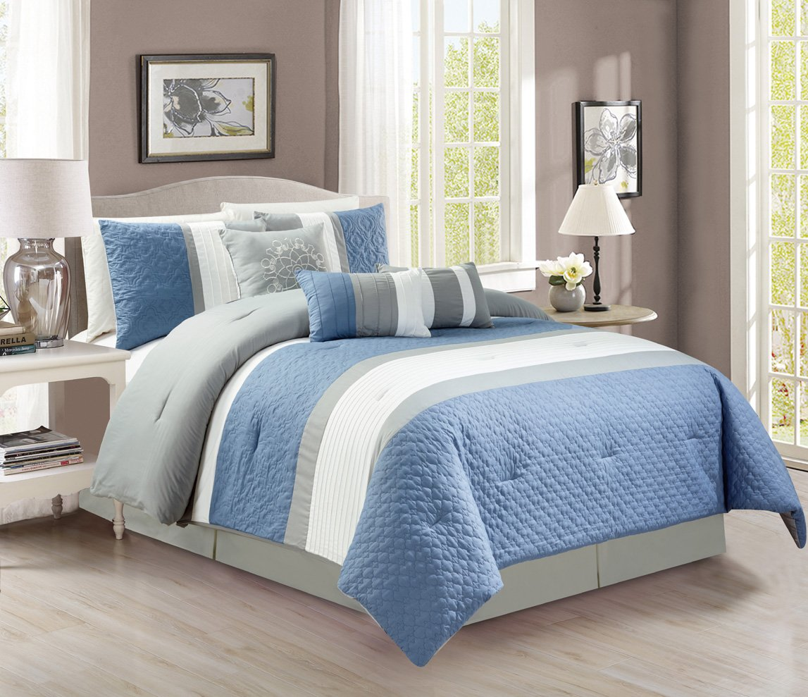 Modern 7 Piece Bedding Spa Blue / Grey / White Pin Tuck / Embroidered QUEEN Comforter Set with accent pillows