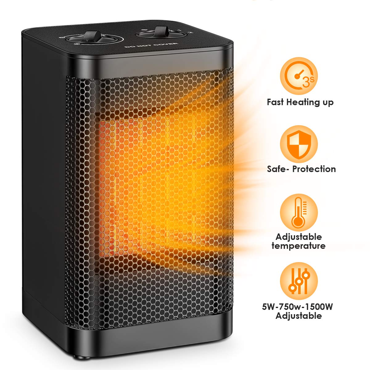 Portable Space Heater Office Ceramic 1500W 750W Ninonly Small Space Heater Oscillating Instant Heating Tower Heater Adjustable Perfect For the Home Indoor
