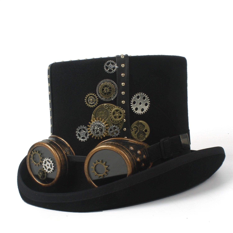 GHC Gorras y Sombreros Sombrero de Copa de de de Fieltro Negro Steampunk con Banda de Metal Dorado, Engranajes, Cartuchos de Bala Steampunk Sombrero ( Color : Negro , Size : 57CM ) bb1e3d