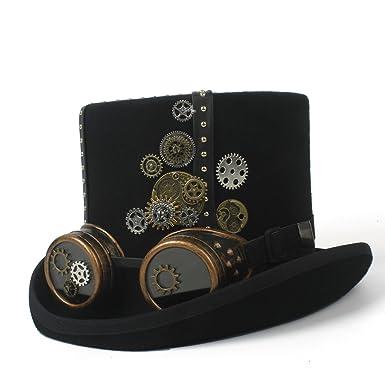 HX   MM Steampunk Hat Black Felt Steampunk Top Hat with Gold Metal Band 060dfa144d43