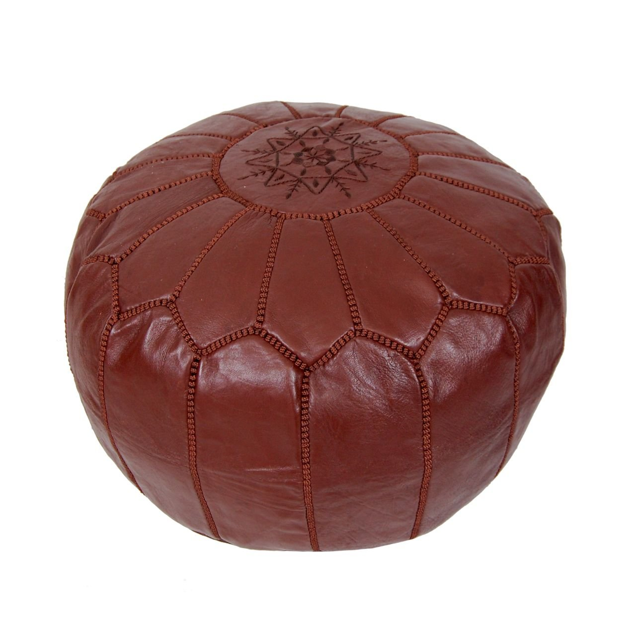 Moroccan Pouf Ottoman Footstool (Leather) Genuine Hand-Stitched Seating | Unstuffed |Living Room, Bedroom, Sitting Area | Chocolate Brown | Exclusive Designs