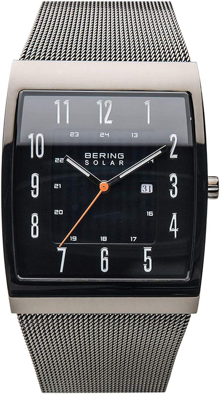 BERING Reloj Analógico para Hombre de Energía Solar con Correa en Acero Inoxidable 16433-377