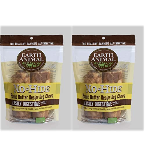 No Hide Earth Animal Peanut Butter Dog Chews. 2 Packs Small 3-4 inch 4 Chews Total The Safe Alternative to Rawhide