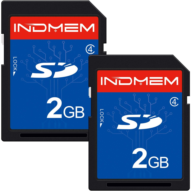 2 Pack SD Card 2GB Class 4 Flash Memory Card 2G SLC Stanard Secure Digital Cards (IN2GBC4SD2P) by INDMEM