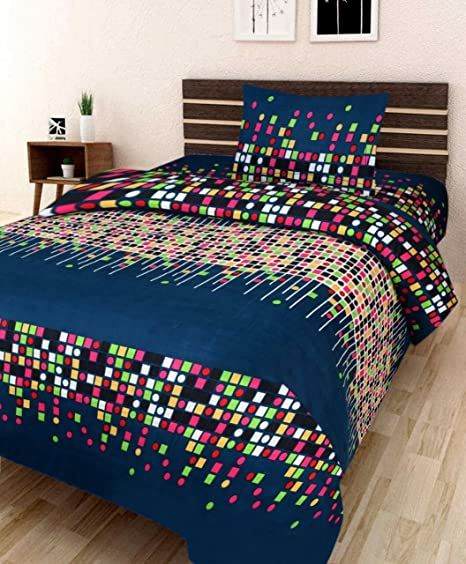 Veer Fab Polyester Blend 3D Printed 180TC Polycotton Single Bedsheet with 1 Pillow Cover (Multi, Standard Size)