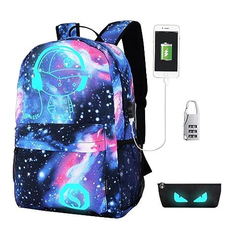 caee0e4674 Anime di moda zaino,Aohro Daypack borsa scuola con Porta di Ricarica USB e  Lock