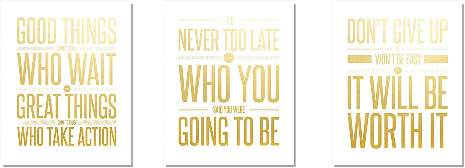 Don't Give Up (3-Set) Gold Foil Print Poster Motivational Inspirational Quote Wall Workout Sports Boy Girl Teen Fitness Wall Home Decor Office Classroom Dorm Room Gym Entrepreneur UNFRAMED Sign (8x10)