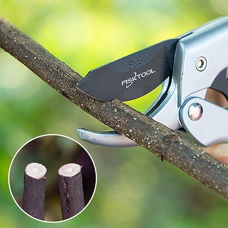 8 Inch Profesional Mano Trinquete tijeras de podar (FT-01 - 003), SK5 hoja de acero, Sharp tijeras de podar con bloqueo de seguridad, menos esfuerzo: ...