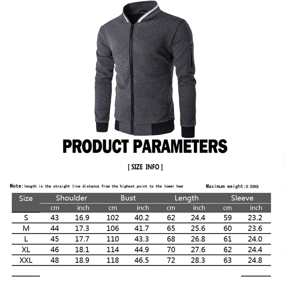 HOP FASHION Mens Casual Diamond Zipper Up Jacket Coat with Pockets