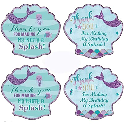 40pcs Birthday Bridal Mermaid Stickers Thank You Sea Shell Labels Party Favors Pink and Glitter Theme Party Decoration Suppliers: Health & Personal Care