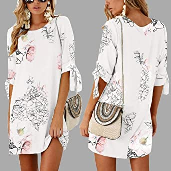 YKA 2018 New Long Floral Print Chiffon Half Sleeve Loose Striaght Casual Dress - White - Small: Amazon.co.uk: Clothing