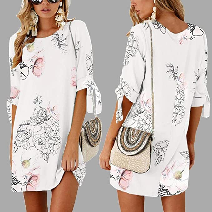 6e6ab8bd8c5 YKA 2018 New Long Floral Print Chiffon Half Sleeve Loose Striaght Casual  Dress - White -