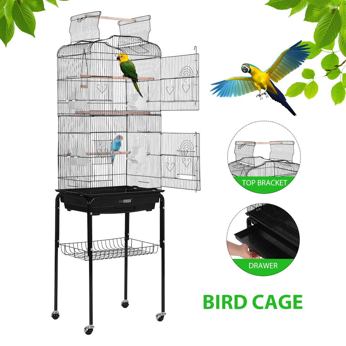 VIVOHOME 59.8 Inch Wrought Iron Bird Cage with Play Top and Rolling Stand for Parrots Conures Lovebird Cockatiel Parakeets by VIVOHOME