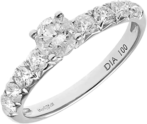 anillo de oro blanco con diamantes blancos y diamante grande central
