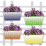 TrustBasket Raising Colors Oval Railing Planters - Set of 4 (Blue, Orange, Green, Yellow)