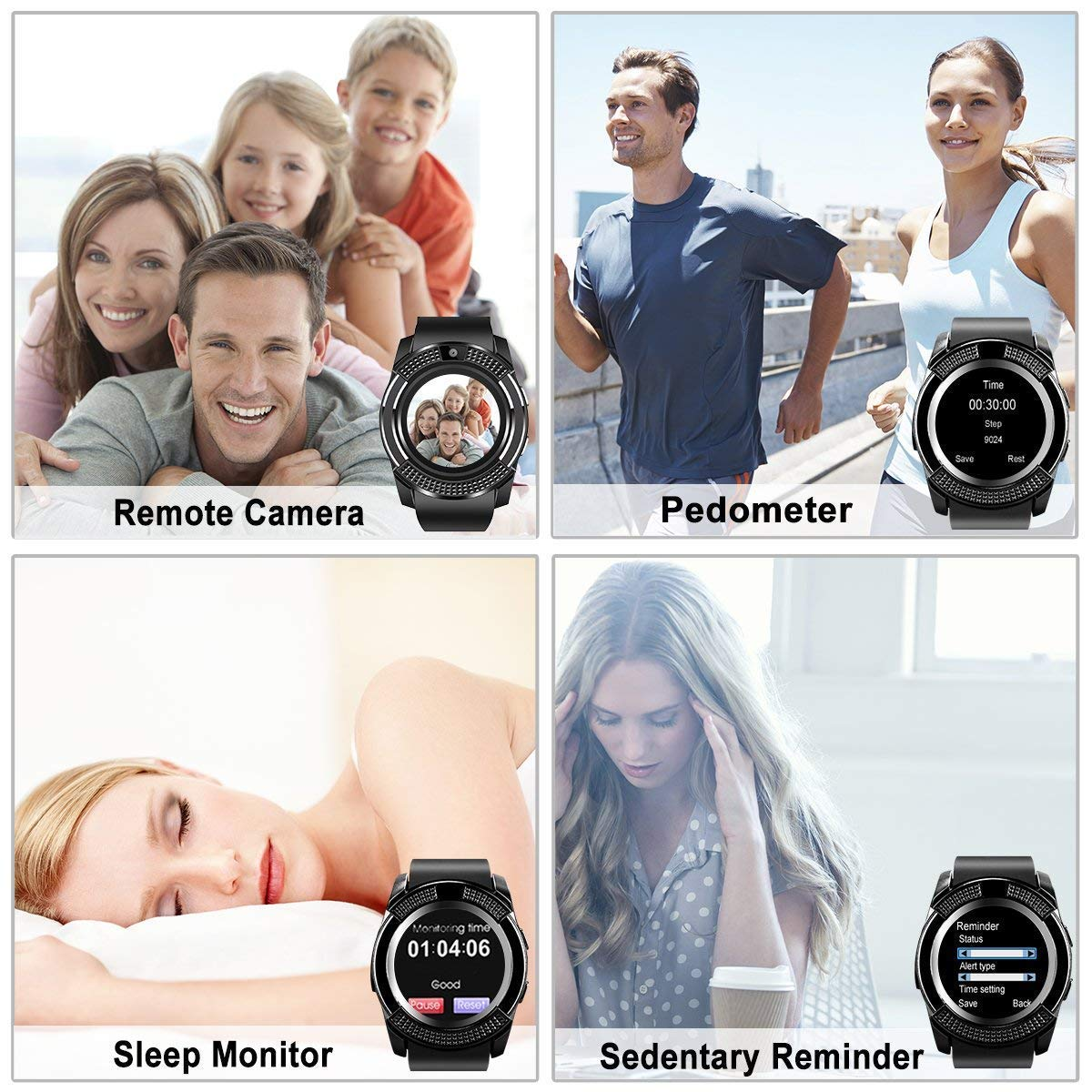 Smart Watch,Bluetooth Smartwatch Touch Screen Wrist Watch with Camera/SIM Card Slot,Waterproof Phone Smart Watch Sports Fitness Tracker Compatible Android Phones Black by Topffy (Image #3)