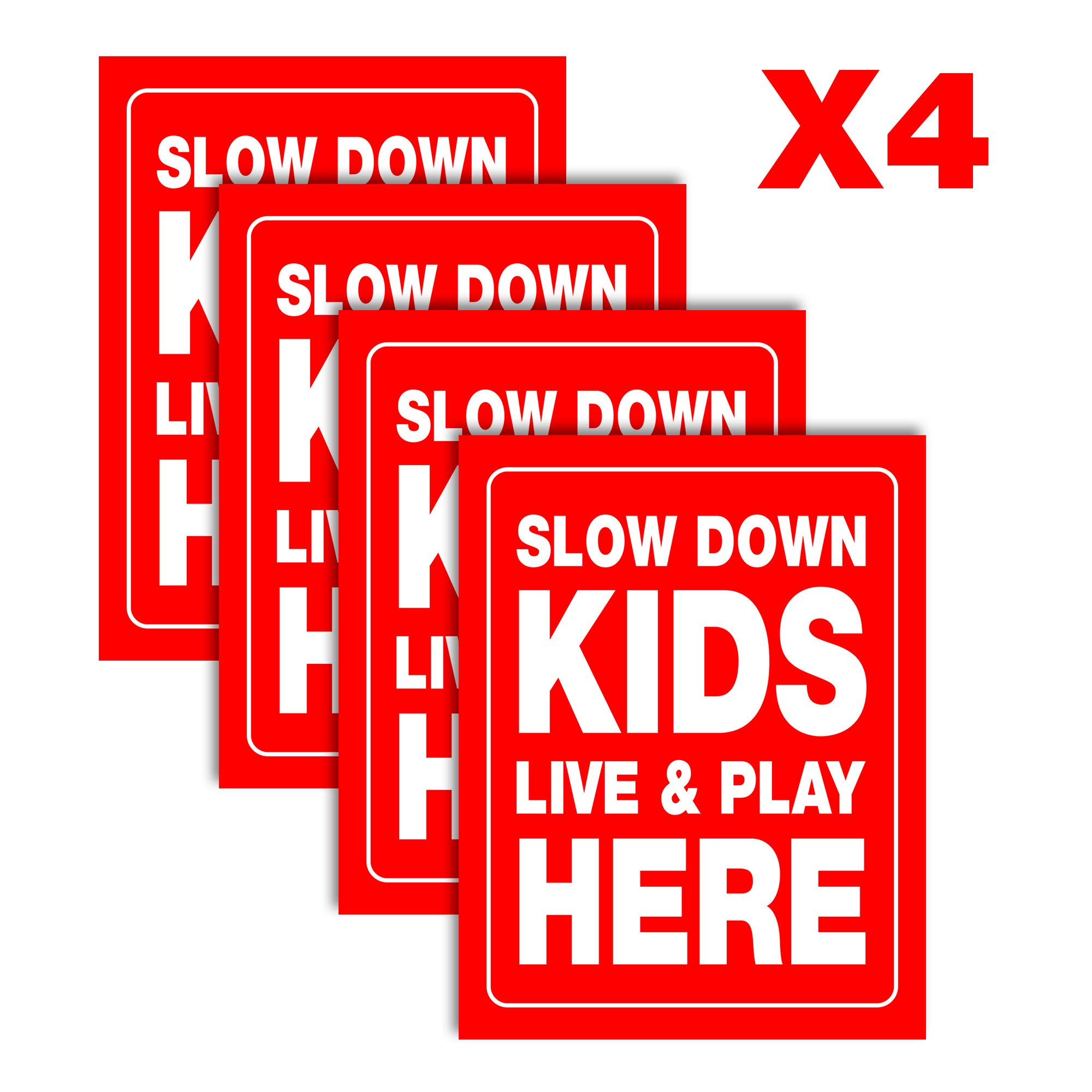 Accelerated Intelligence Inc. Slow Down Kids Live & Play Here Yard Sign | Double-Sided Red on White Safety Slow Down Signs for Sidewalks, Yards and Driveways 18'' x 24'' (4 Pack)