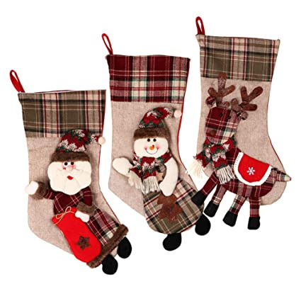 ourwarm 18 inch large christmas stockings 3 pcs set 3d classic santa plaid christmas stocking - Large Christmas Stockings