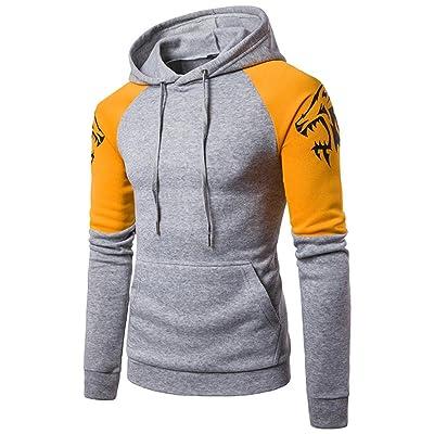 Forthery Mens Slim Fit Patchwork Hoodies Sweatshirt Coat Outwear