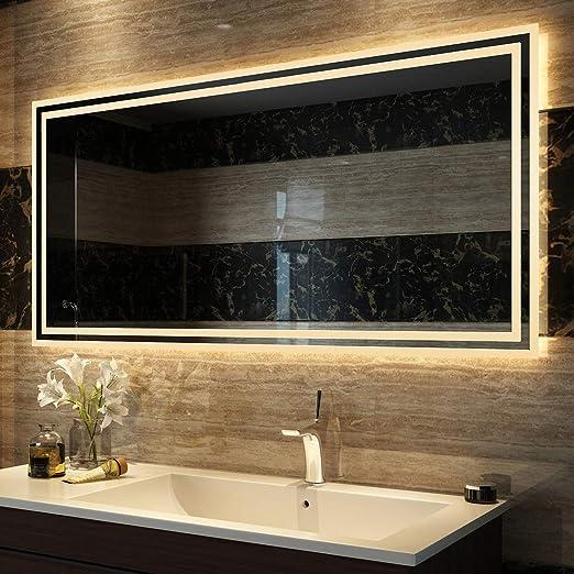 Duschdeluxe Badspiegel Lichtspiegel 120 x 60 cm LED Spiegel Wandspiegel nergieeffizienzklasse A++ mit Beleuchtung Warmweissen Lichtspiegel IP44