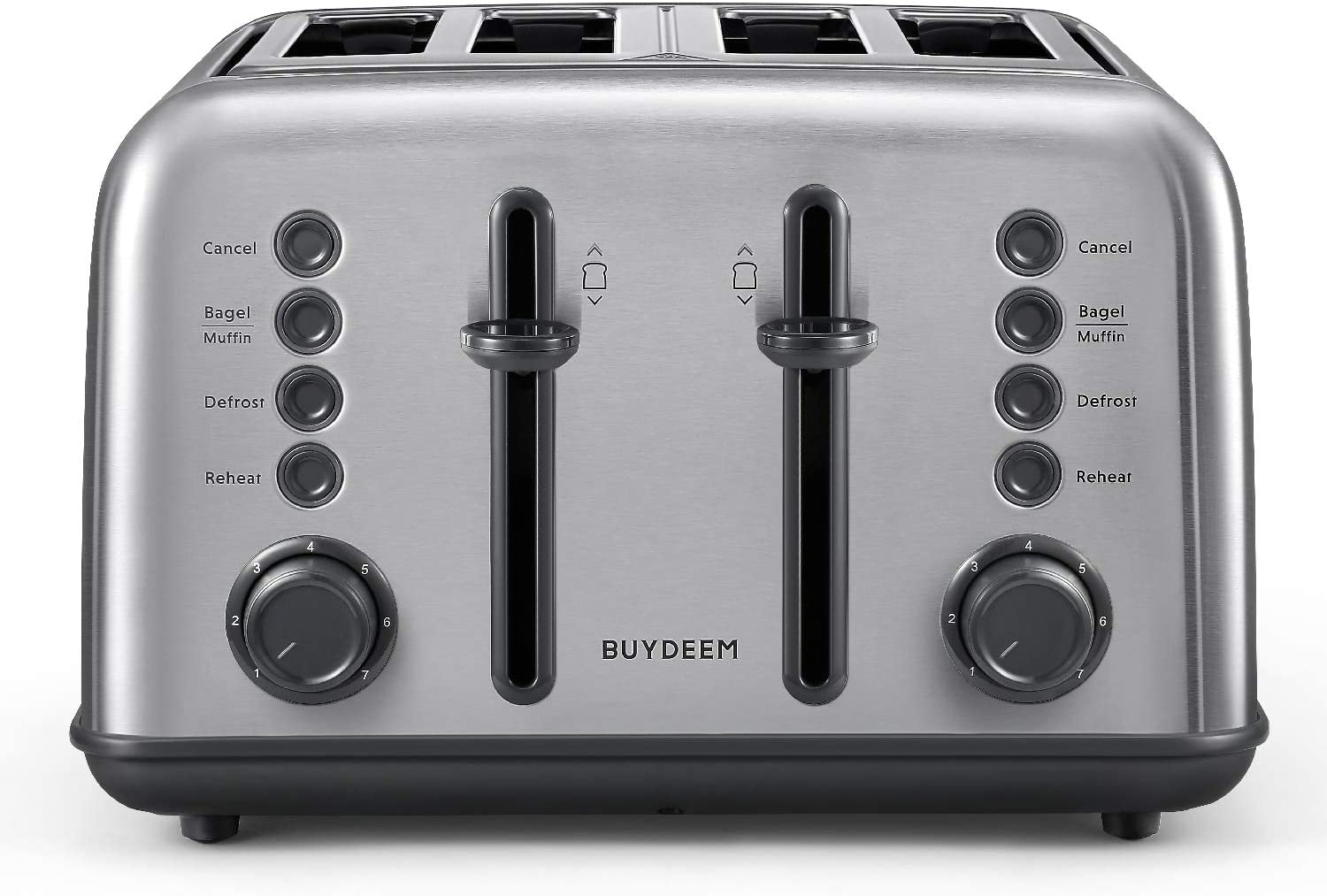 BUYDEEM DT-6B83 4-Slice Toaster, Extra Wide Slots, Retro Stainless Steel with High Lift Lever, Bagel and Muffin Function, Removal Crumb Tray, 7-Shade Settings (Retro Stainless Steel)