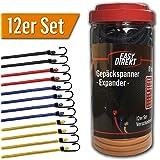 EasyDirekt 12er Set - Premium - Gepäckspanner/Expander/Spanngurte - Elastisch mit Stahl-Haken - in Versch. Längen + Farben - inkl. Aufbewahrungsbox und Zufriedenheitsgarantie