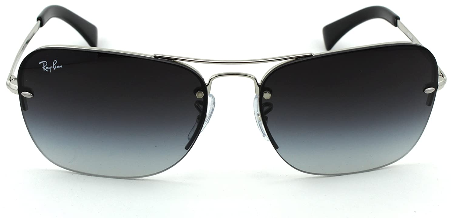 22506ae4c0 Amazon.com  Ray-Ban RB3541 Unisex Rectangular Metal Sunglasses (Silver  Frame Gray Gradient Lens 003 8G
