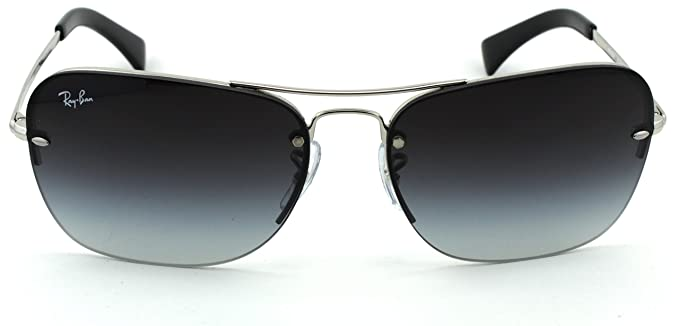 52dfb16b11 Amazon.com  Ray-Ban RB3541 Unisex Rectangular Metal Sunglasses (Silver  Frame Gray Gradient Lens 003 8G