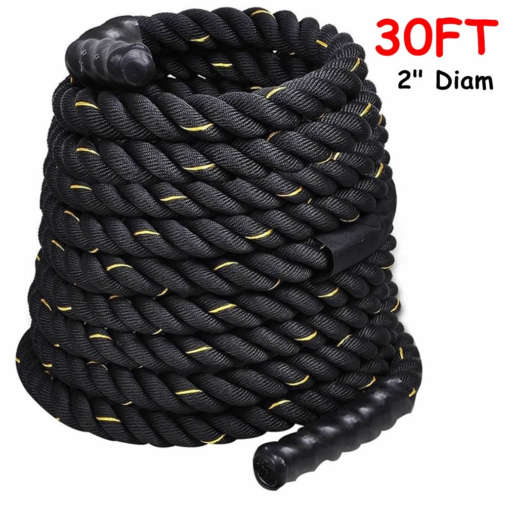 2'' Poly Dacron 30ft/Black Battle Rope Workout Strength Training Undulation TKT-11 by TKT-11
