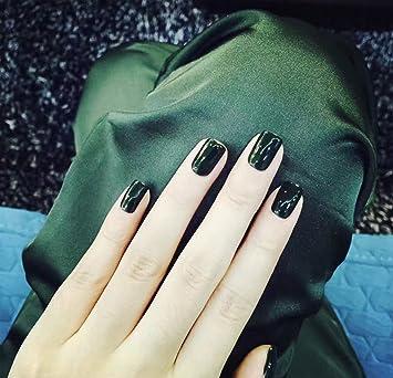 aukmla 24 pcs uñas postizas Full Cover Retro Artificial Nails corto francés manicura falsas uñas pegamento
