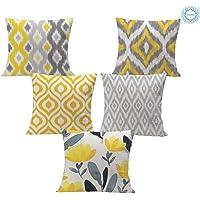 STITCHNEST Ikat Yellow Grey Printed Canvas Cotton Cushion Covers,Grey,Yellow Set of 5