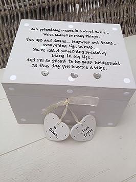 Shabby Chic estilo personalizado regalo para novia de boda Joyero caja de regalo: Amazon.es: Hogar